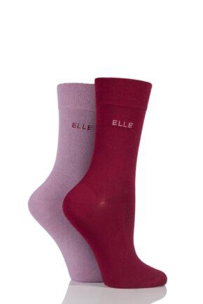 Ladies 2 Pair Elle Plain Bamboo Fibre Socks Artists Palette 4-8 Ladies