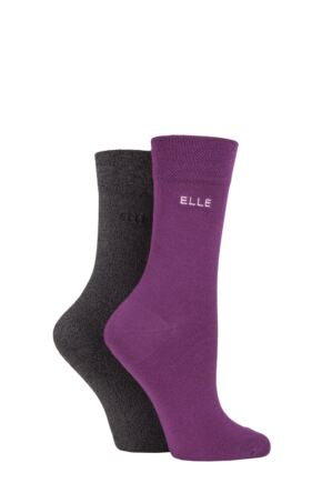 Ladies 2 Pair Elle Plain Bamboo Fibre Socks Beetroot 4-8 Ladies