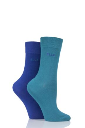 Ladies 2 Pair Elle Plain Bamboo Fibre Socks Colours