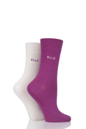 Ladies 2 Pair Elle Bamboo Patterned and Plain True and Trainer Socks - Sale SA125PG