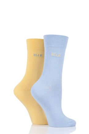 Ladies 2 Pair Elle Plain Bamboo Fibre Socks