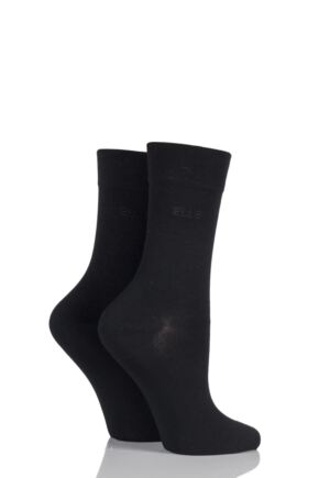 Ladies 2 Pair Elle Plain Bamboo Fibre Socks Black