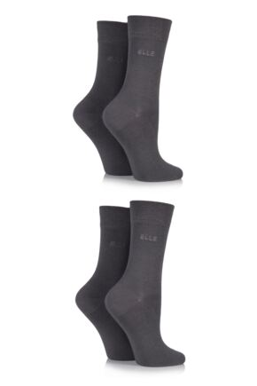 Ladies 4 Pair Elle Plain Bamboo Fibre Socks