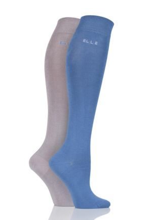 Ladies 2 Pair Elle Plain Bamboo Knee Highs sale sale