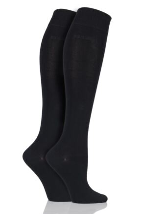 Ladies 2 Pair Elle Plain Bamboo Knee Highs Black