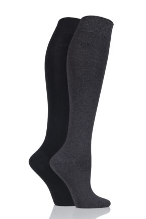 Ladies 2 Pair Elle Plain Bamboo Knee Highs