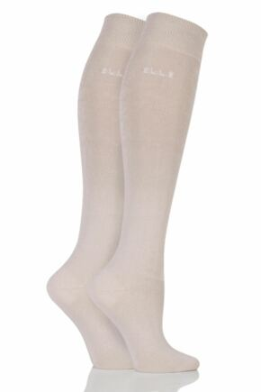Ladies 2 Pair Elle Plain Bamboo Knee Highs Neutral (new) 4-8