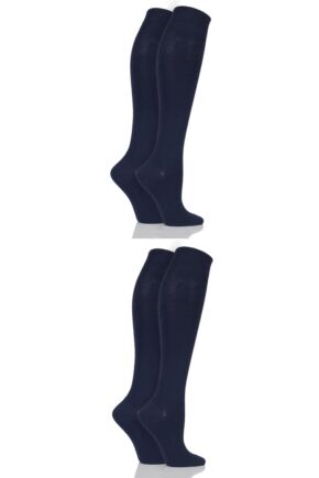 Ladies 4 Pair Elle Plain Bamboo Knee Highs