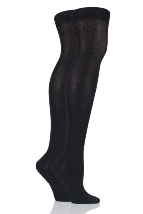 Ladies 2 Pair Elle Plain Bamboo Over The Knee Socks Black