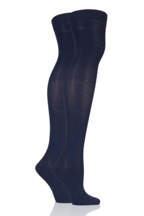 Ladies 2 Pair Elle Plain Bamboo Over The Knee Socks