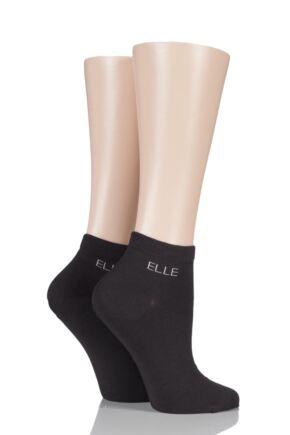 Ladies 2 Pair Elle Plain Bamboo Trainer Socks