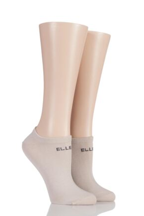 Ladies 2 Pair Elle Plain and Striped Bamboo No Show Socks