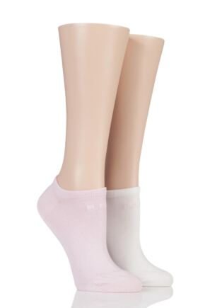 Ladies 2 Pair Elle Plain Bamboo No Show Socks