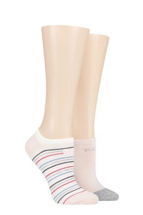 Ladies 2 Pair Elle Plain and Striped Bamboo No Show Socks Sweet Bonbon Striped 4-8 Ladies