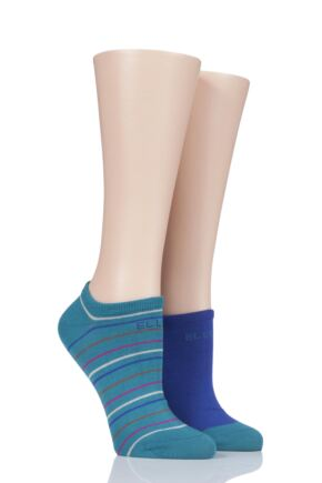 Ladies 2 Pair Elle Striped Bamboo No-Show Socks