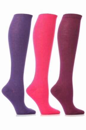 Ladies 3 Pair Elle Pearl Cotton Knee High Socks In Pinks and Purples