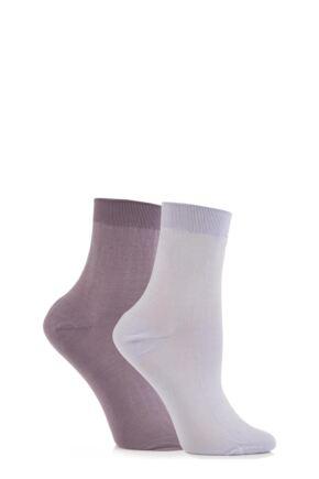 Ladies 2 Pair Elle Pearl Cotton Anklets Purples