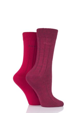 Ladies 2 Pair Elle Ribbed Bamboo Boot Socks