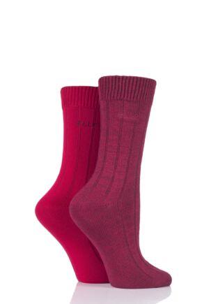 Ladies 2 Pair Elle Ribbed Bamboo Boot Socks Dark Ruby 4-8 Ladies