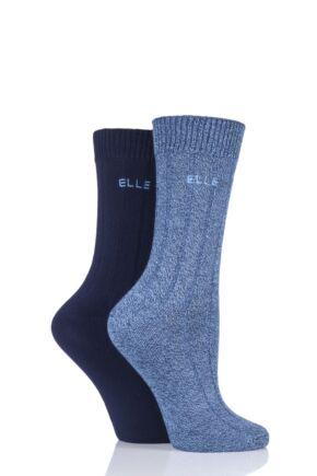 Ladies 2 Pair Elle Ribbed Bamboo Boot Socks