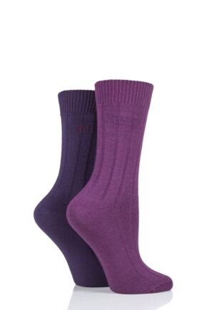 Ladies 2 Pair Elle Ribbed Bamboo Boot Socks Winter Berry 4-8 Ladies