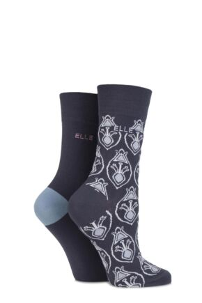 Ladies 2 Pair Elle Bamboo Patterned and Plain Socks sale sale Carbon Frame 4-8