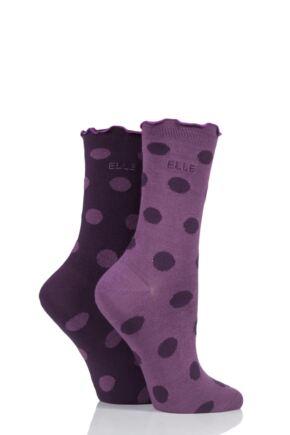 Ladies 2 Pair Elle Bamboo Patterned and Plain Socks Highland Heather 4-8 Ladies