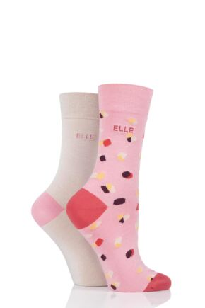Ladies 2 Pair Elle Bamboo Patterned and Plain Socks