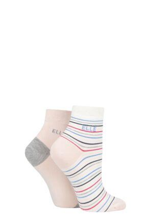 Ladies 2 Pair Elle Bamboo Striped and Plain Socks Sweet Bonbon Anklet 4-8 Ladies