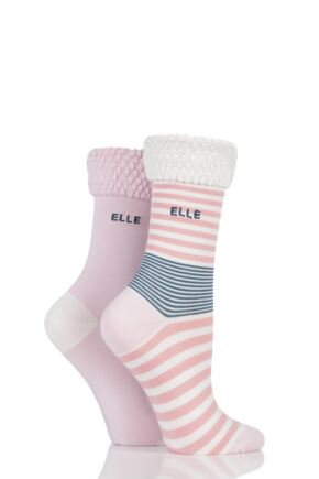 Ladies 2 Pair Elle Striped Bamboo Socks with Comfort Cuff Beachcomber 4-8
