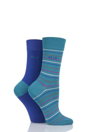 Ladies 2 Pair Elle Bamboo Striped and Plain Socks sale