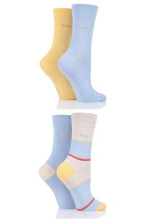 Ladies 4 Pair Elle Bamboo Fibre Socks