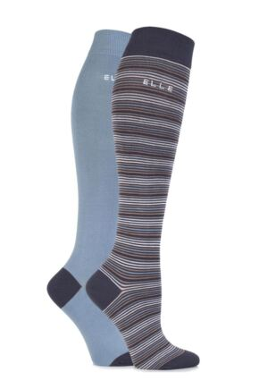 Ladies 2 Pair Elle Bamboo Striped and Plain Knee High Socks
