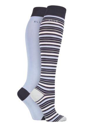 Ladies 2 Pair Elle Bamboo Striped and Plain Knee High Socks Kentucky Blue 4-8 Ladies