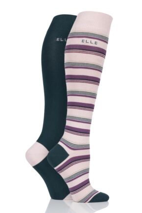 Ladies 2 Pair Elle Bamboo Striped and Plain Knee High Socks Tweed 4-8 Ladies