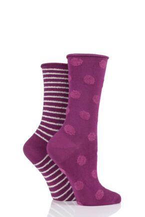 Ladies 2 Pair Elle Bamboo Feather Striped Socks Winter Berry Spot 4-8 Ladies