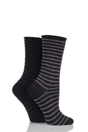 Ladies 2 Pair Elle Bamboo Feather Striped Socks Slate Black 4-8 Ladies