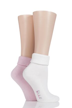 Ladies 2 Pair Elle Bamboo Ankle Socks With Cushion Sole Pink / Cream 4-8