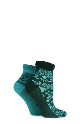Ladies 2 Pair Elle Dainty and Delicate Floral Ankle Socks Jewel Jade 4-8