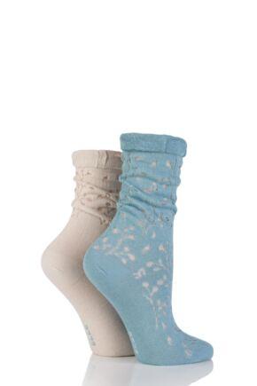 Ladies 2 Pair Elle Lacy Bamboo Anklet Socks Spring Teal 4-8