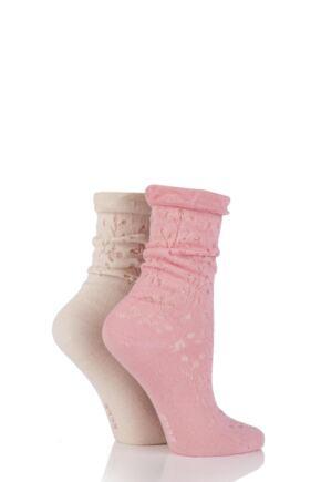 Ladies 2 Pair Elle Lacy Bamboo Anklet Socks Vintage Coral 4-8
