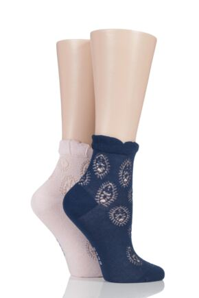 Ladies 2 Pair Elle Bamboo Lacy Anklet Socks