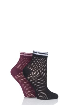 Ladies 2 Pair Elle Soft Net Sporty Anklet Socks