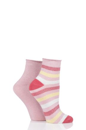 Ladies 2 Pair Elle Ombre Lurex Stripe Roll Top Anklet Socks