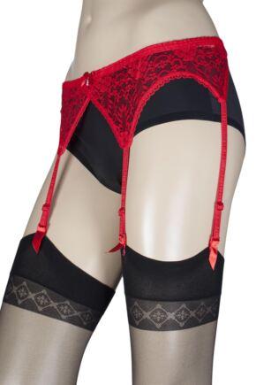 Ladies Trasparenze Sara Lace Suspender Belt Red One Size