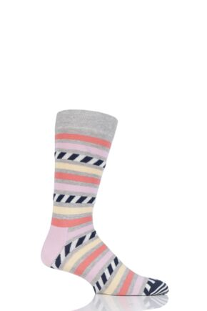 Mens and Ladies 1 Pair Happy Socks Stripe on Stripe Combed Cotton Socks