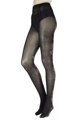 Ladies 1 Pair Trasperenze Satiro Floral Backed Tights