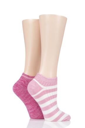 Ladies 2 Pair Elle Stripe and Cable Rib Bamboo Trainer Socks