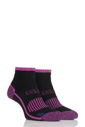 19a0ea2a875 Ladies 2 Pair Storm Bloc with BlueGuard Ankle High Hiking Socks. Black. Blue