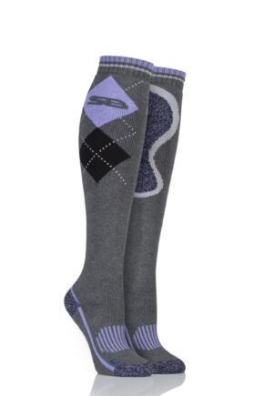 Ladies 1 Pair Storm Bloc with BlueGuard Equestrian Long Cotton Socks Charcoal 4-8 Ladies